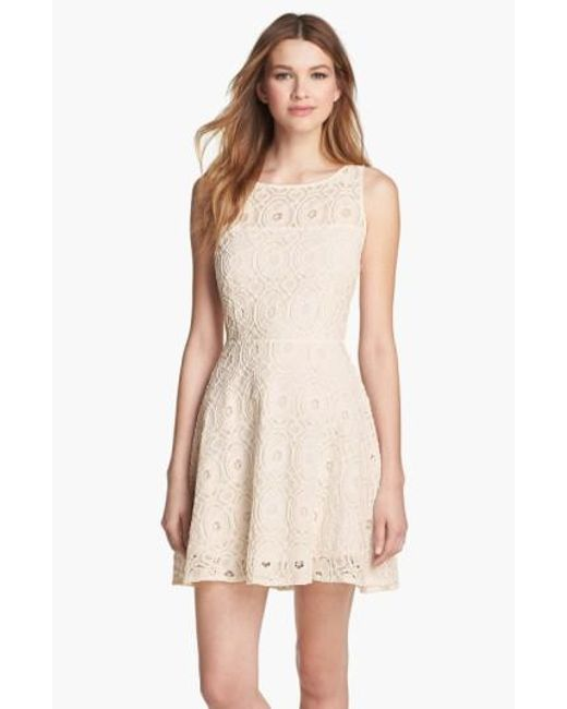 BB Dakota | White 'Renley' Lace Fit & Flare Dress (Nordstrom Exclusive) | Lyst