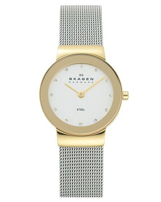 Skagen | Metallic 'freja' Mirror Bezel Mesh Strap Watch | Lyst