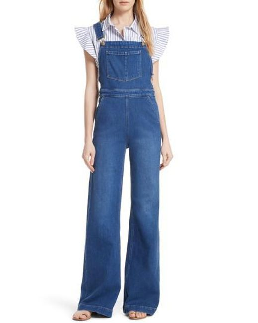 FRAME - Blue Palazzo Wide Leg Denim Overalls - Lyst