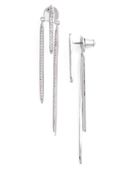 CZ by Kenneth Jay Lane | Metallic Pave Cubic Zirconia Linear Drop Back Earrings | Lyst
