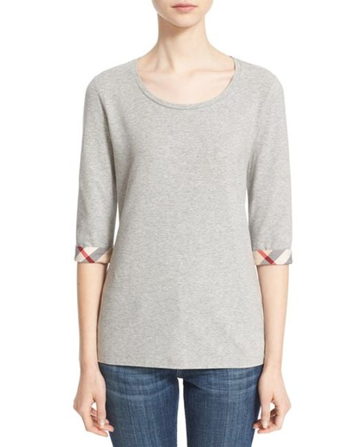 Burberry | Gray Check Trim Tee | Lyst