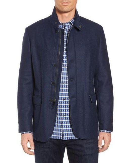 Bugatchi   Blue Wool Blend Jacket for Men   Lyst