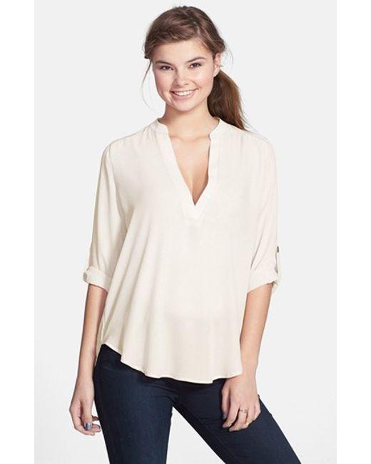 Lush | White Roll Tab Sleeve Woven Shirt (juniors) | Lyst