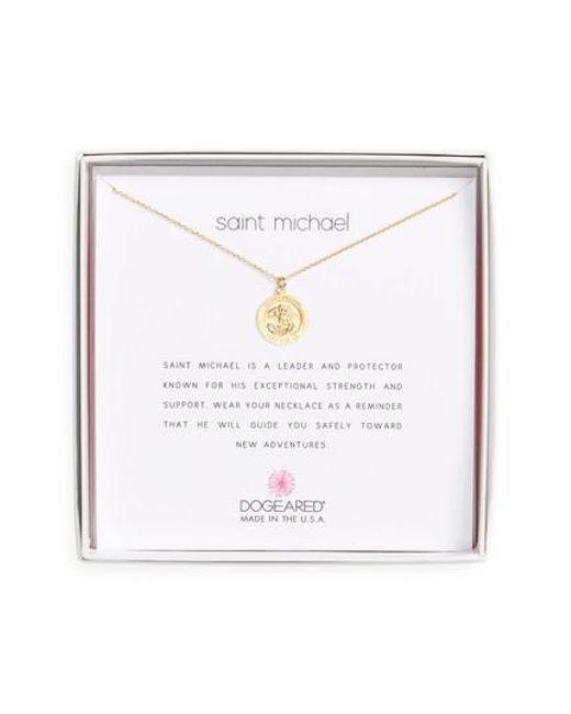 Dogeared | Metallic Saint Michael Pendant Necklace | Lyst