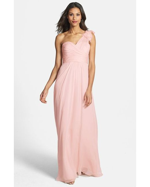 Amsale | Pink Illusion Shoulder Crinkled Silk Chiffon Dress | Lyst