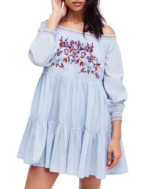 Free People - Blue Sunbeams Minidress - Lyst