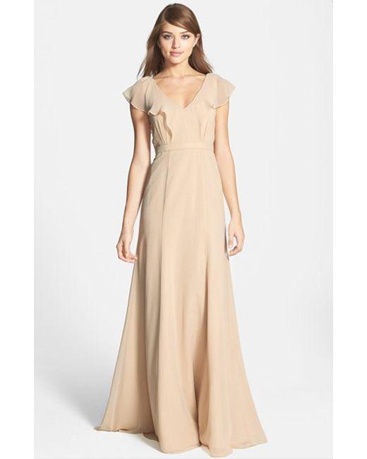 Jenny Yoo | Metallic 'cecilia' Ruffled V-neck Chiffon Long Dress | Lyst