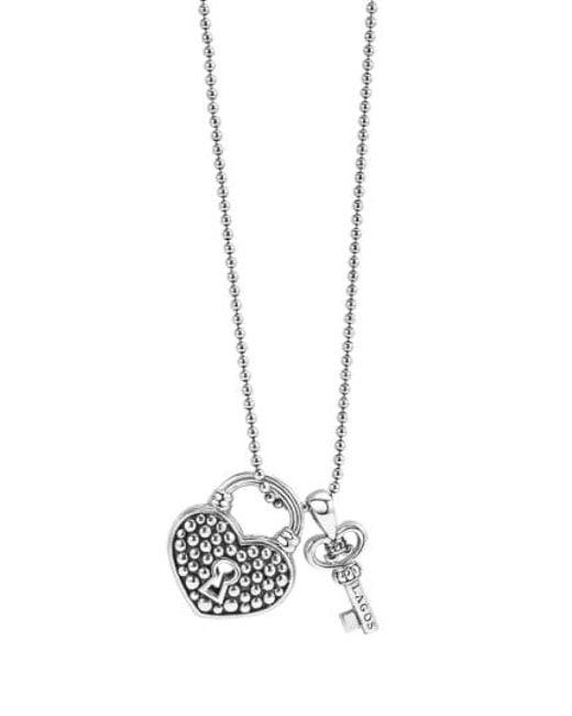 Lagos - Metallic 'beloved' Heart Lock & Key Pendant Necklace - Lyst
