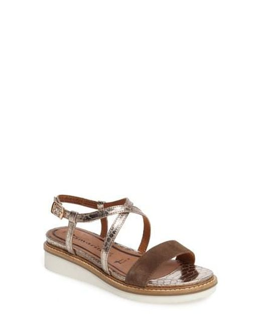 Tamaris - Brown 'eda' Platform Wedge Sandal - Lyst
