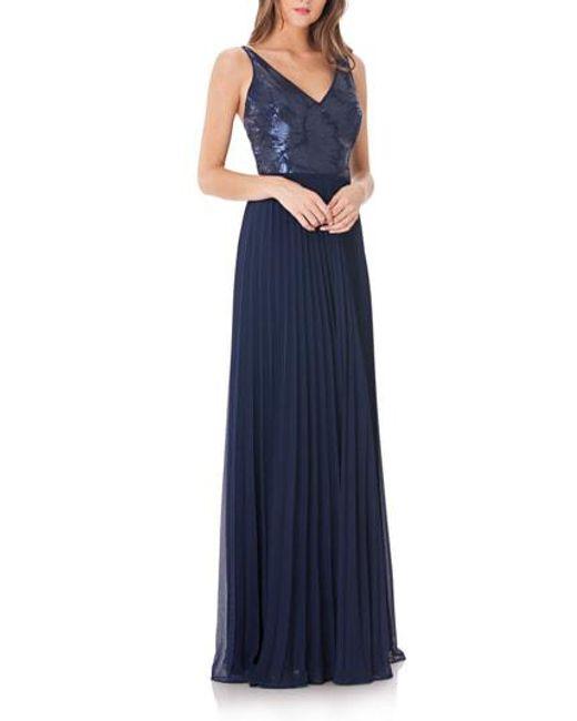 Carmen Marc Valvo - Blue Sequin & Pleat Gown - Lyst