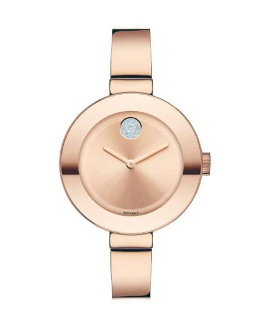 Movado | Pink 'bold' Crystal Accent Bangle Watch | Lyst