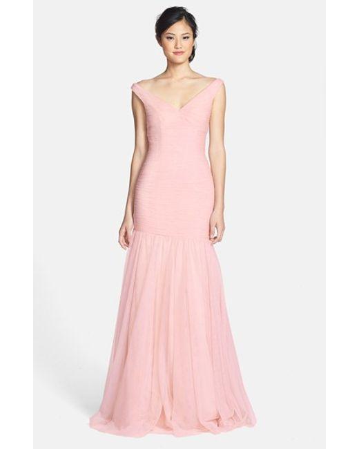 Monique Lhuillier Bridesmaids | Pink V-neck Shirred Tulle Trumpet Dress | Lyst
