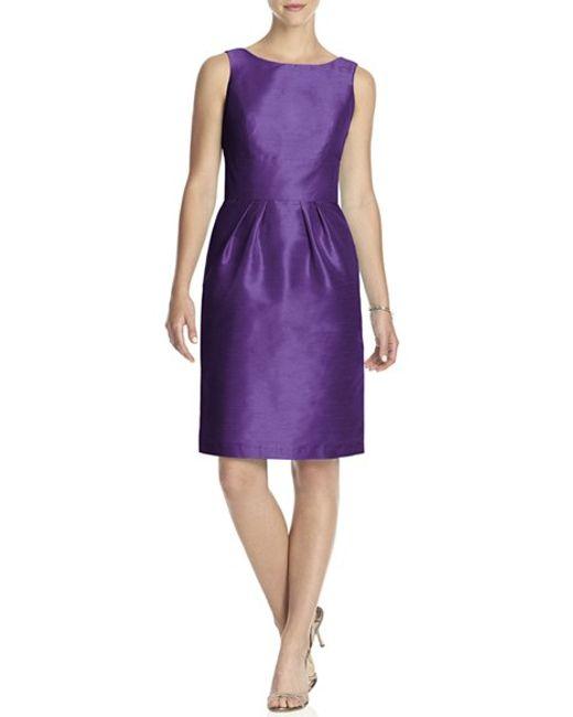 Alfred Sung | Purple Boatneck Sheath Dress | Lyst