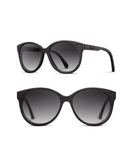 Shwood | Black 'madison' 54mm Round Wood Sunglasses | Lyst
