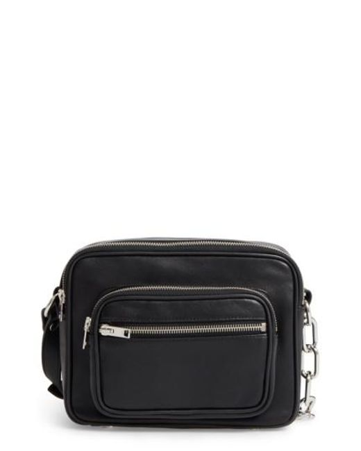 Alexander Wang | Black Washed Leather Crossbody Bag | Lyst
