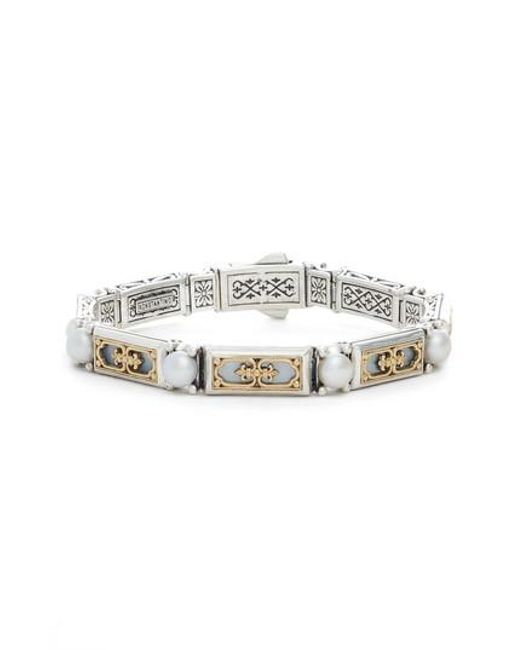 Konstantino - Metallic Etched Silver & Gold Link Bracelet With Genuine Pearl - Lyst