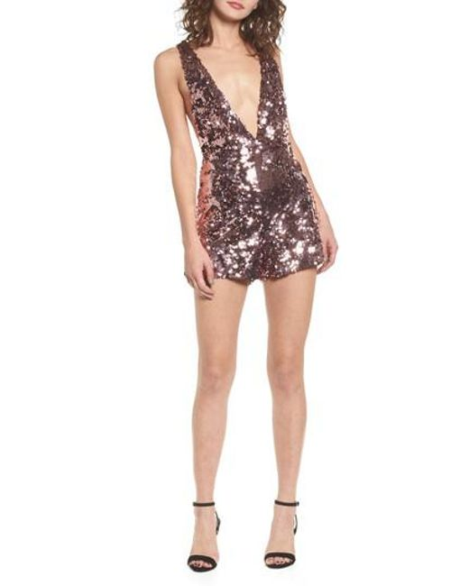 Lost Ink | Pink Sequin Romper | Lyst