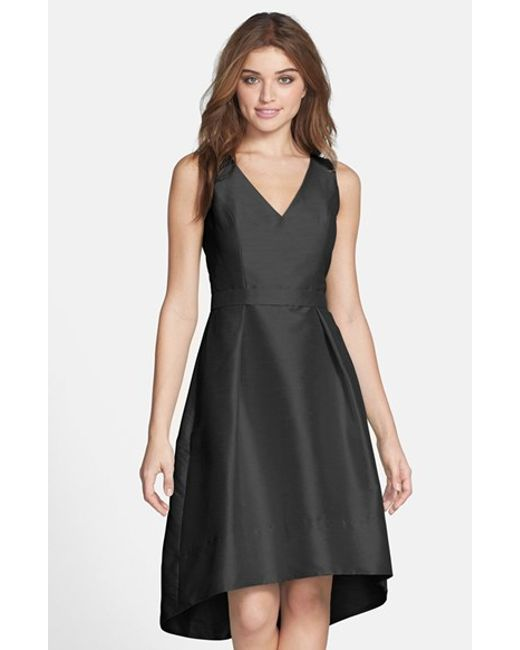 Alfred Sung | Black Satin High/low Fit & Flare Dress | Lyst