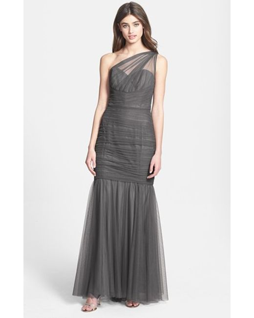 Amsale   Gray One-Shoulder Tulle Mermaid Gown   Lyst