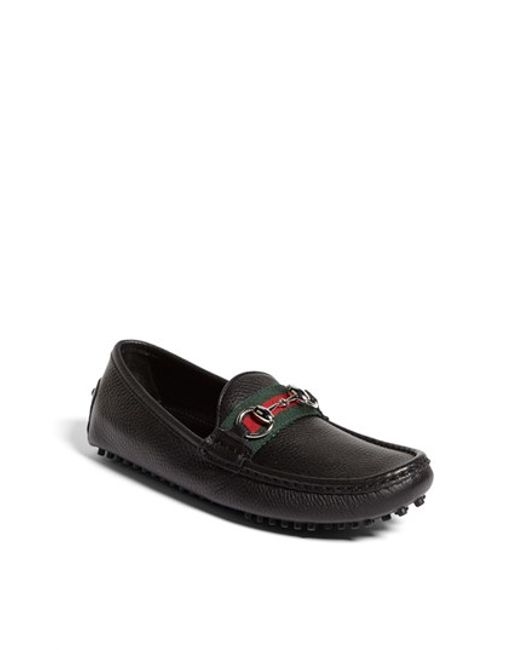 Gucci | Black Damo Leather Driving Loafers | Lyst