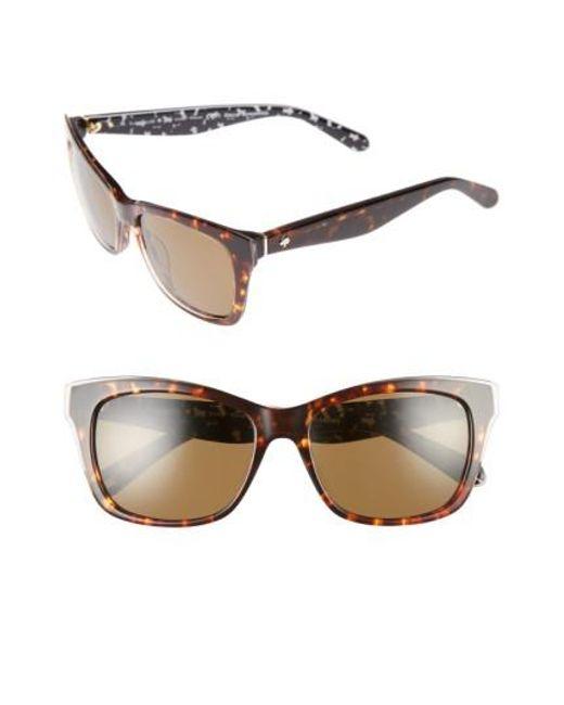 Kate Spade | Brown Jenae 53mm Polarized Sunglasses - Havana/ Cream/ Transparent | Lyst
