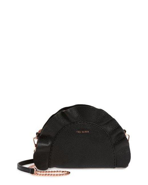 Ted Baker - Black Ruffle Half Moon Leather Crossbody Bag - Lyst