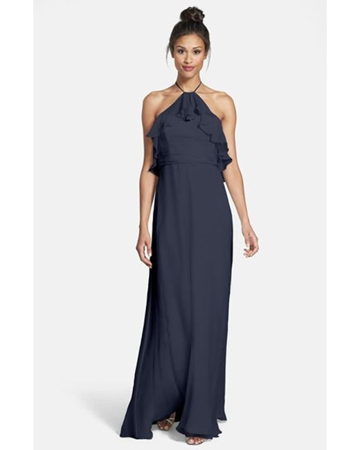 Amsale   Blue Ruffle Crinkled Silk Chiffon Halter Gown   Lyst
