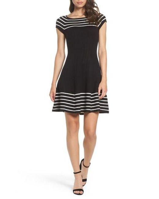 Eliza J | Black Striped Knit Dress | Lyst