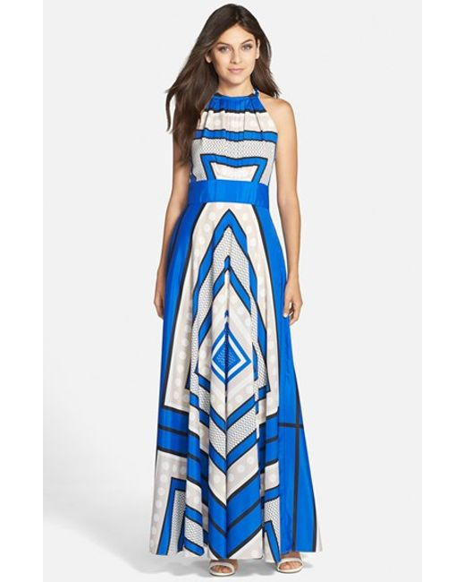 Eliza J | Blue Scarf Print Crepe De Chine Fit & Flare Maxi Dress | Lyst