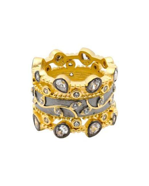 Freida Rothman | Metallic Fleur Bloom Set Of 3 Stack Rings | Lyst