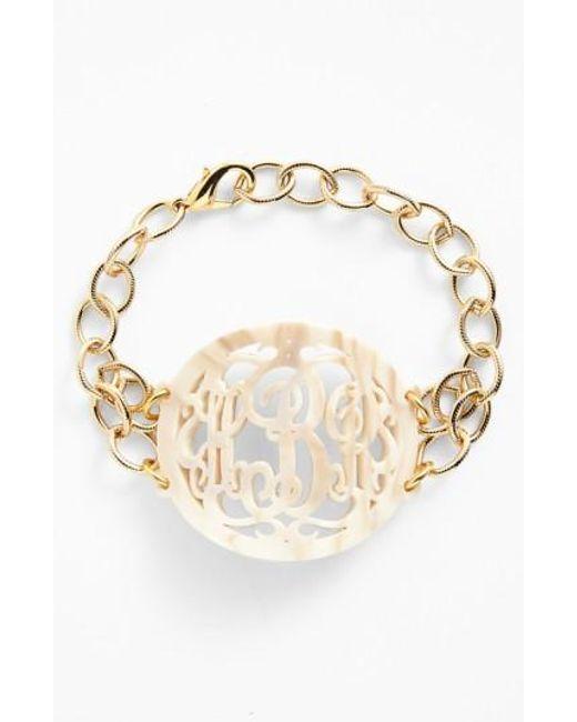 Moon & Lola | Metallic 'annabel' Large Oval Personalized Monogram Bracelet (nordstrom Exclusive) | Lyst