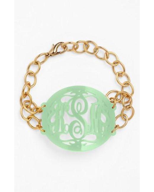 Moon & Lola   Metallic 'annabel' Large Oval Personalized Monogram Bracelet (nordstrom Exclusive)   Lyst