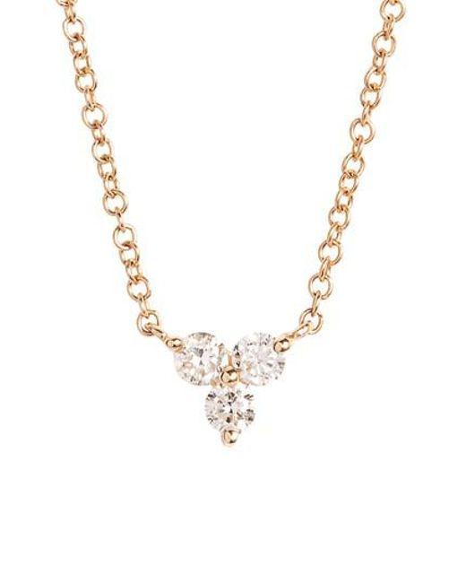 EF Collection | Metallic Trio Diamond Pendant Necklace | Lyst