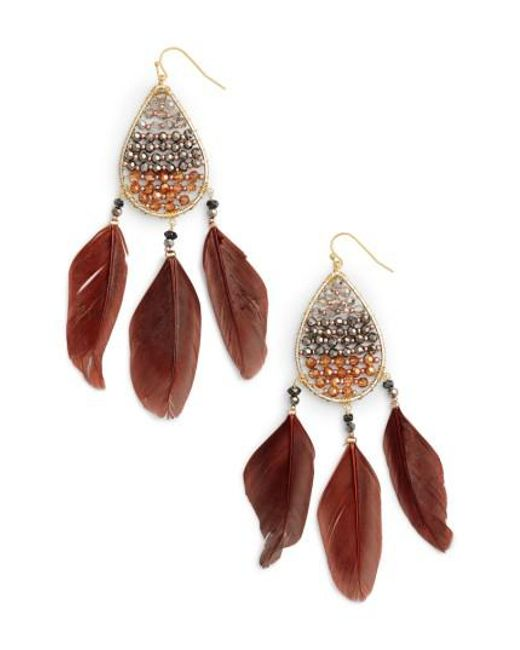 Nakamol | Metallic Teardrop Feather Earrings | Lyst