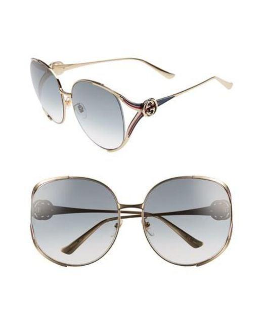 Gucci - Metallic 63mm Open Temple Sunglasses - Lyst