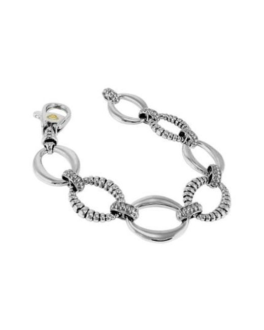 Lagos   Metallic Smooth And Fluted Oval Link Bracelet   Lyst