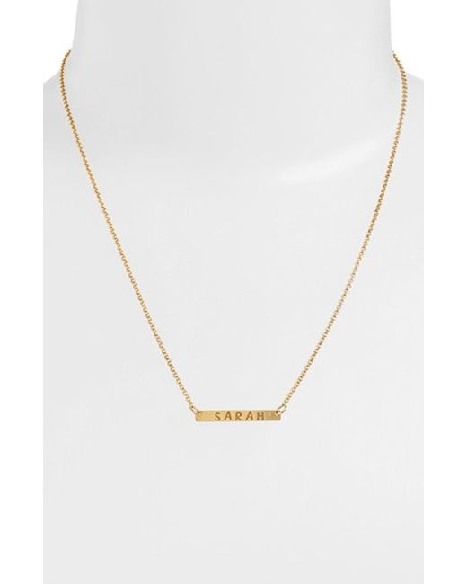 Argento Vivo | Metallic Personalized Bar Monogram Necklace (nordstrom Exclusive) | Lyst