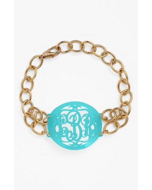 Moon & Lola   Blue 'annabel' Medium Oval Personalized Monogram Bracelet (nordstrom Exclusive)   Lyst
