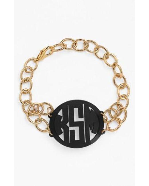 Moon & Lola   Black 'annabel' Medium Personalized Monogram Bracelet   Lyst
