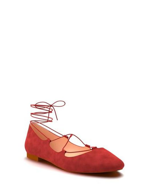 Shoes Of Prey   Red Ghillie Pointy Toe Ballet Flat   Lyst