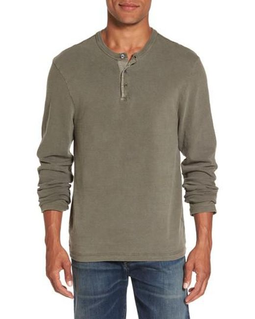James perse long sleeve henley t shirt in green for men lyst for James perse henley shirt