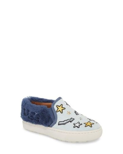 Ugg - Blue Ugg Patch It Genuine Shearling Trim Slip-on Sneaker - Lyst