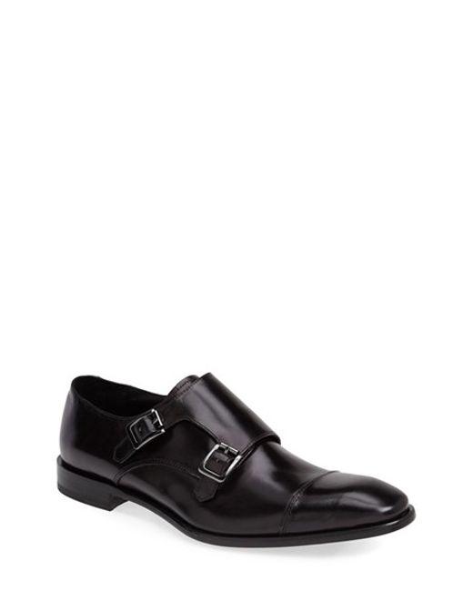 Calibrate | Black 'cusano' Double Monk Shoe for Men | Lyst
