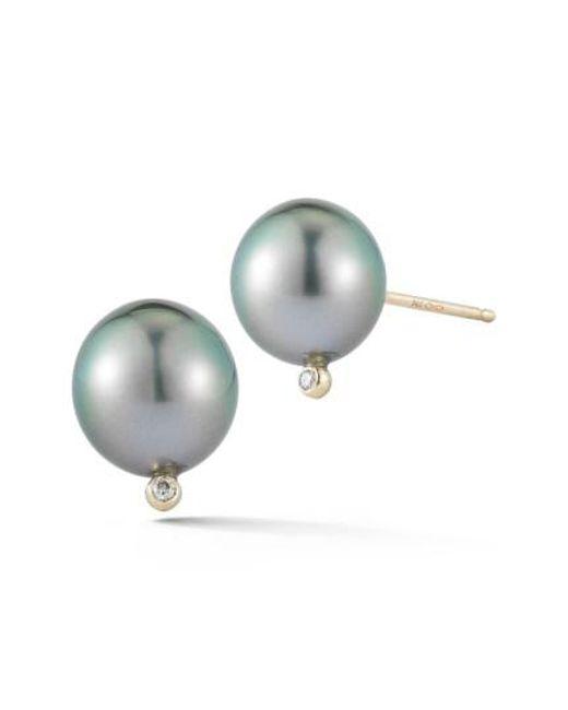 Mizuki | Multicolor Pearl & Diamond Stud Earrings | Lyst