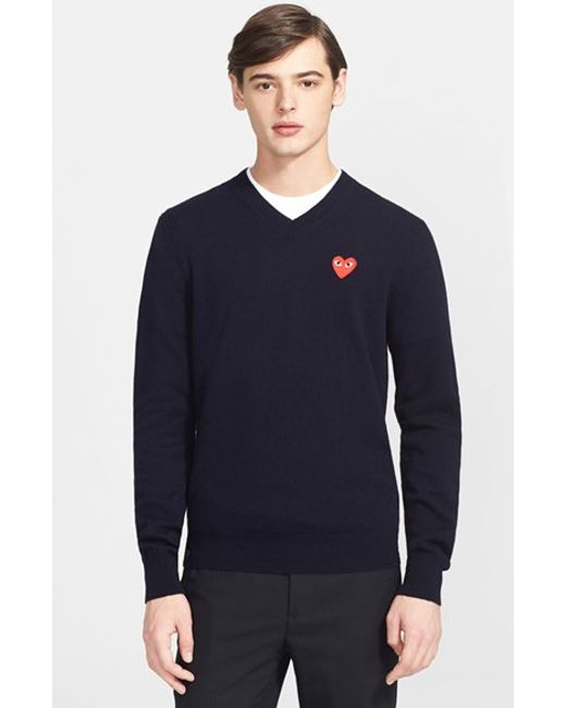 Comme des Garçons | Blue Play Wool Pullover for Men | Lyst
