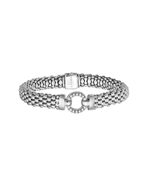 Lagos | Metallic 'enso - Circle Game' Diamond Caviar Rope Bracelet | Lyst