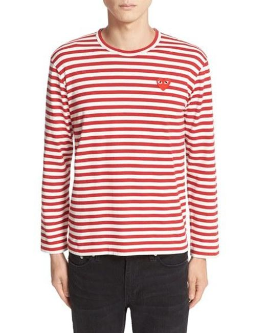 Comme des Garçons | Red Play Long Sleeve Stripe Crewneck T-shirt for Men | Lyst
