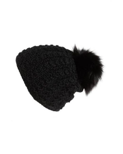 Kyi Kyi   Black Genuine Fox Pompom Hat   Lyst