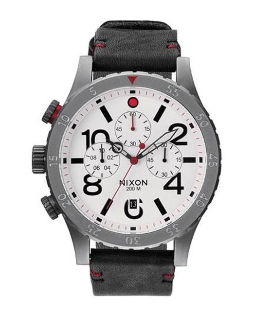 Nixon   Black 'the 48-20' Chronograph Leather Strap Watch for Men   Lyst