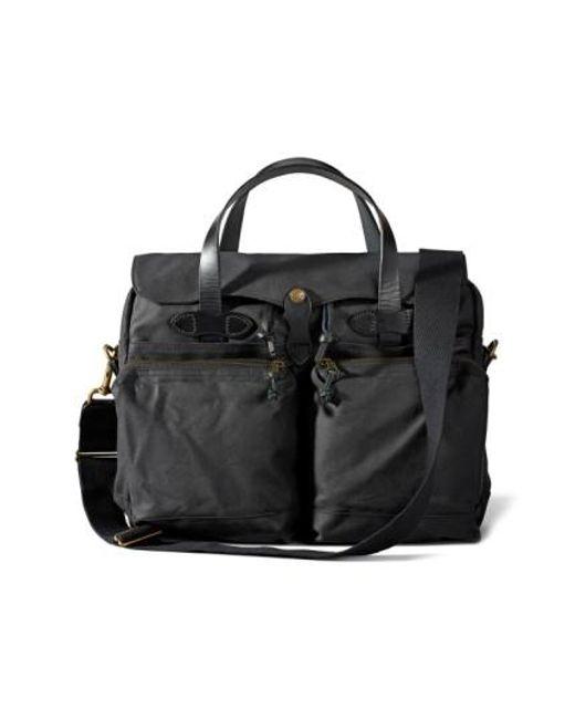 Filson - Black '24 Hour' Tin Cloth Briefcase - Lyst